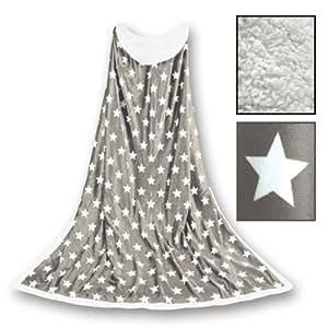 Kuscheldecke in Lammfelloptik mit Sternen 170 x 130 cm (Beige)