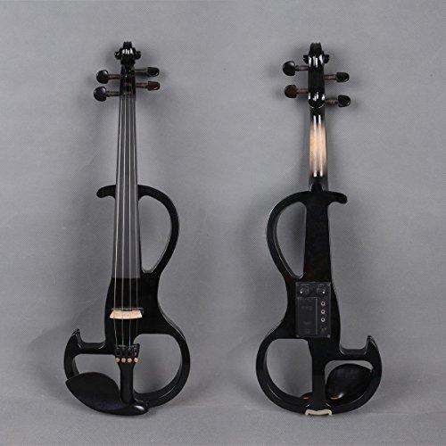 Yinfente Violino elettrico 4/4 Full Size Silent Violino in legno massello con custodia archetto per violino, Nero