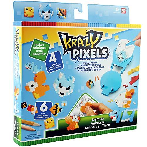Bandai - Pretty Pixels - Krazy Pixels - Fabrique à gommes - Set de démarrage - Thème animaux - Loisirs créatifs - 38551