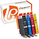Bubprint Lot de 4 cartouches d'encre compatibles avec HP 364 XL 364XL set muni d'une nouvelle puce et d'une jauge de remplissage