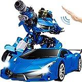 Bambino blu RC giocattolo elettrico Trasformatori 360deg;Rotazione auto 01:12 Grande gesto Intelligent Remote Sensing di controllo di deformazione Auto suono e luci a LED Robot Adulti Regalo di comple