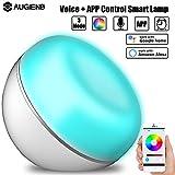 AUGIENB Lampada smart , Programmare con Amazon Alexa o Google Home tramite comando vocale + Lampada da tavolo intelligente LED wireless ,luce da comodino,16 milioni di luci colorate,Prestabilita il tempo