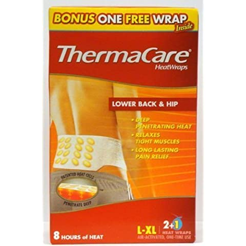 ThermaCare Heat Wraps, Lower Back & Hip, Large-XL, 3-Count Boxes (Pack of 2) Total 6 Wraps by ThermaCare