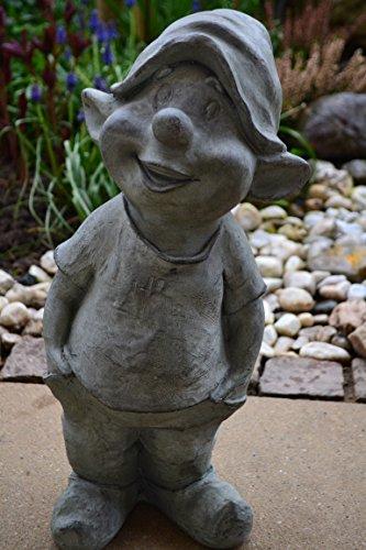 Gartenzwerg-Gartenwichtel, großer vorwitziger Garten-Zwerg-lustiger Gartentroll Fritz aus Poly-Stein - Höhe 42 cm - für Haus und Garten