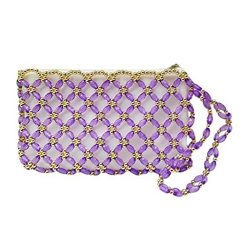 F Fityle Taschenherstellung - Silber Handarbeit Vintage Perlen Tasche Hochzeit Hand Bag Braut Damen Abend Handtasche - Lila - Hand Perlen Abend Handtasche