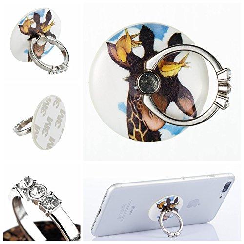 Preisvergleich Produktbild Handyhalterung Handy Ring, Alfort 360° Kristall Griff Halterung Ständer Handy Ring für iPhone, Samsung, Sony, Huawei und Alle anderen Telefone, Tabletten ( Giraffe )