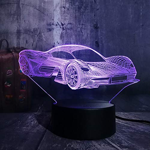 Nachttisch Lampe,Moderne Ferrari Auto 3D Led Nachtlicht 7 Farbwechsel Touch Roome Tischlampe Home Party Decor Junge Kinder Geburtstagsgeschenkvalentinstag Geschenk
