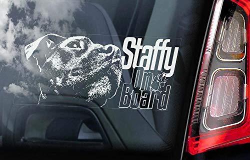 CELYCASY Staffordshire Bullterrier - Autoaufkleber - Hund an Bord Schild Staffie Staffy - V05 -