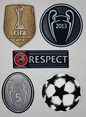 FC Bayern Munchen Uefa Respect, Champions League Star, Champions 2013 + Trophy 5 Trikot Flock Aufnäher Football Patch Set - Kostenloser Versand!