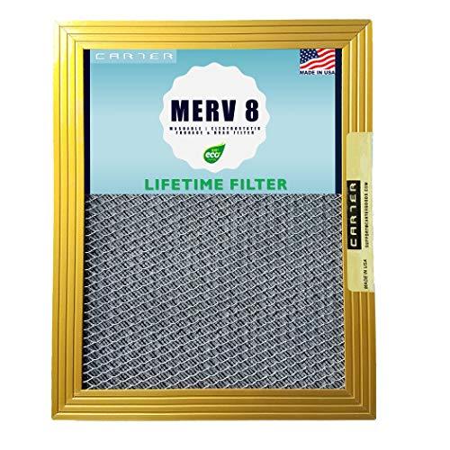 CARTER - MERV 8 - HVAC & Ofenfilter - waschbar, elektrostatisch, hohe Staubaufnahmekapazität 20x20x1 -