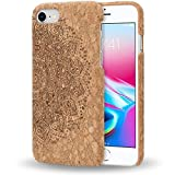 iPhone 8/7 Kork Hülle Handyhülle von NALIA, Natur-Holz Look Handy-Tasche Cover Case, Dünnes Ultra-Slim Hardcase Schutz Etui Backcover Phone Bumper für Apple i-Phone 7/8, Designs:Cork Mandala