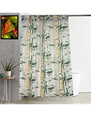 """Kuber Industries Bamboo Design PVC Shower Curtain with Hooks - 54""""x84"""""""