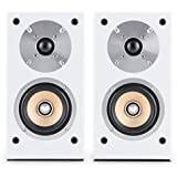 Auna Linie 501 BS coppia di diffusori da scaffale altoparlanti passivi (tecnologia a 2 vie, midrange di 10 cm e tweeter di 2.5 cm, 50 Watt RMS) - bianco