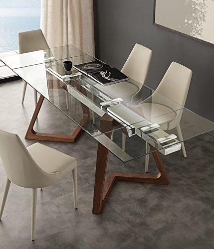 Tavoli In Vetro Cristallo.Tavolo Allungabile In Cristallo Design Soggiorno Salotto Cucina