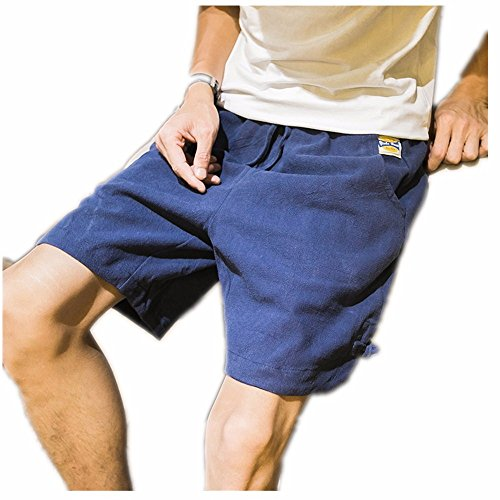 Casual Hosen, Shorts, große Größe Student's Männer fünf Hosen, lose Leinen beach Pants, 2XL, Marine