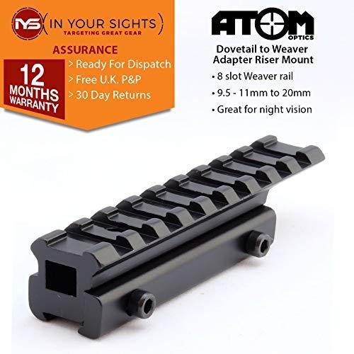 Atom Optics Milano a Weaver Adaptador/Rifle Montaje Riel Elevador/Mira Visión Nocturna Montaje - 100mm Largo, 100mm