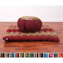 Set de Meditación Cojín Zafu, Colchoneta Zabuton , 76x72x25 cm, Capok, Verde Rojo