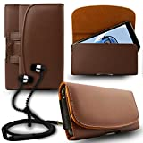 #7: iTALKonline Oppo F1s Brown PREMIUM PU Leather Horizontal Executive Side Pouch Case Cover Holster with Belt Loop Clip and Magnetic Closure Includes Brown Premium 3.5mm Aluminium High Quality In Ear Stereo Wired Headset Hands Free Headphones with Built in Mic Microphone and On Off Button