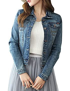 Donna Vintage Denim Giacca Manica Lunga Cappotto Jeans Jacket Outerwear