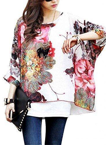 Camicetta Donna Elegante - BienBien Blusa in Chiffon Maglietta Manica 3/4 Bohemian Lunga Estate T (T-shirt Manica Lunga Camicia Verde)