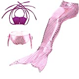 ZBSPORT 3pcs Bikini Traje de Bano Sirena Banador para Ninas Disfraz de Sirena Mermaid Cosplay para Fiesta Halloween Carnaval Swimsuit