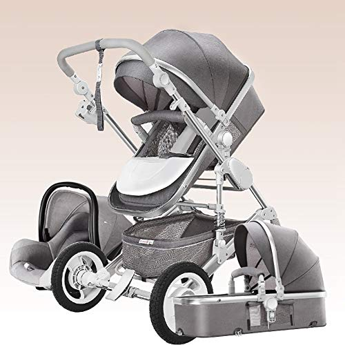 AMENZ Kinderkraft Kinderwagen Buggy Tragewanne Sitzbuggy Klappbar Regenschutzfolie Reisebuggy Kinderbuggy mit Liegefunktion Klappbar ab der Geburt bis ca 3,5 Jahre - 3 in 1 Prams Grau