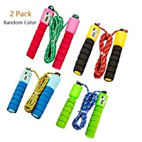 Yuccer Speed Rope, Skipping Rope Lightweight Adjustable Rubber Jump Rope with counter for Fitness, Weight-loss and Speed Training, 2 Pack (Random Color)