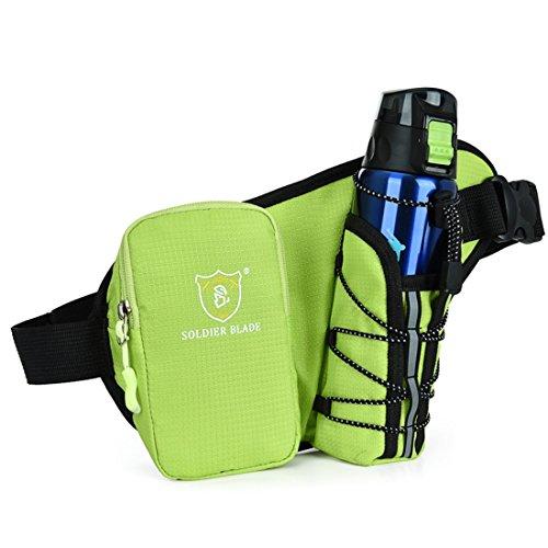 LJ Sport Unisex Sport Bauchtasche Hüfttasche Wasserdicht mit Flaschenhalter für Radsport Bergsteigen Grün