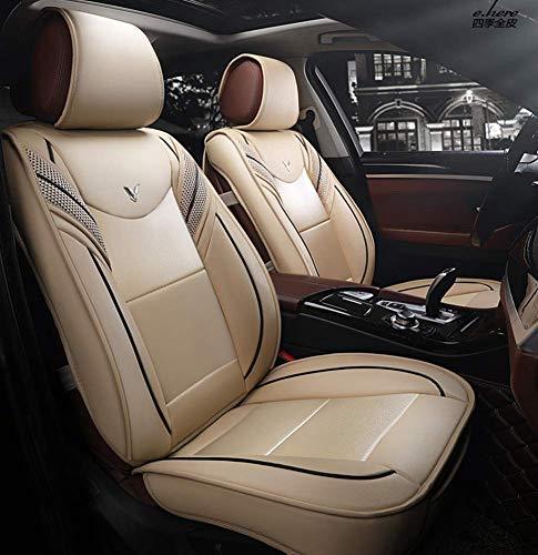Nuovi coprisedili anteriori e posteriori in pelle cuscini, compatibili con airbag, coprisedile universale Five Seasons,Beige