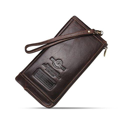 Contacts Herren echtes Leder Kreditkarte Reißverschluss Tasche Telefonhalter Clutch Geldbörse lange Geldbörse (Dunkler Kaffee) (Wallet Scheckheft Herren Leder)