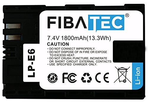 Preisvergleich Produktbild FIBAtec Canon LP-E6 LP E6 LPE6 | Passend für EOS 5D Mark II / 5D Mark III | EOS 7D | EOS 60D / 60Da | mit Infochip