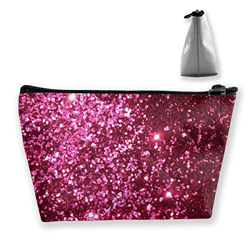 Glitter Bling Bling Makeup Bag Large Trapezoidal Storage Travel Bag Wash Cosmetic Pouch Pencil Holder Zipper Woven Glitter