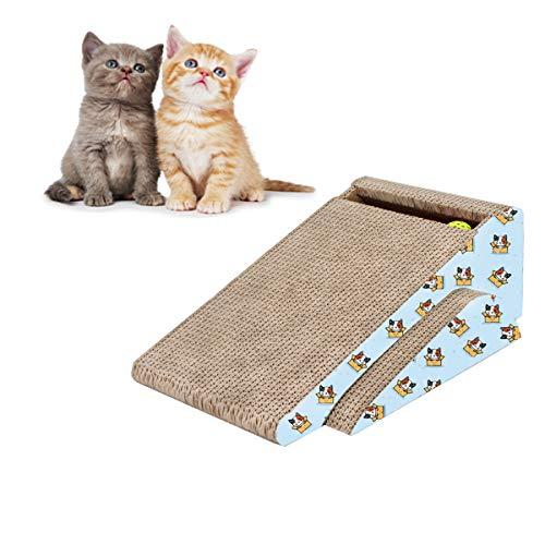 meleg otthon Kratzpads für Katzen,Katzenkratzer-Rampe,Cat Scratcher Cardboard,Anziehendes Spielzeug der Zwei-in-einem-Katze (2 in 1,Blau) -