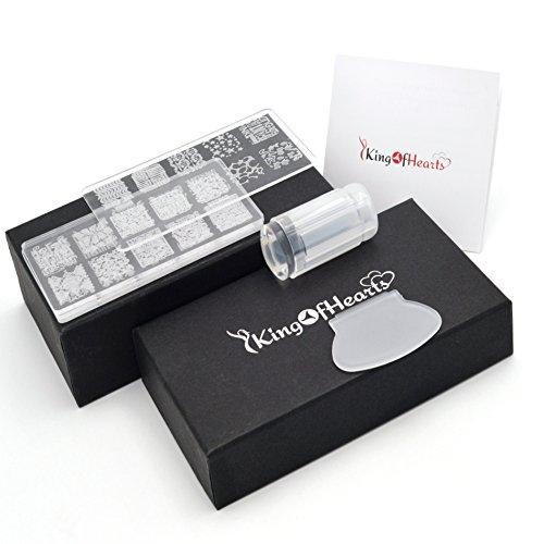 Acrilico Nail Art Kit timbratura - KingOfHearts™ Manicure Kit timbratura comprende 4 piastre Stampaggio con diversi modelli, Trasferimento d'Immagine Stamper e ruspa per tutti Nail Art Design e decorazione
