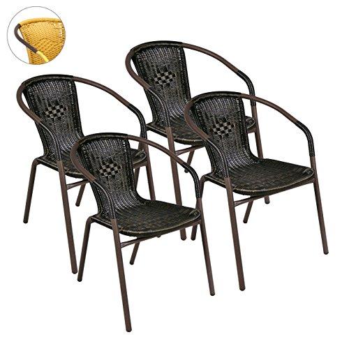 Produktabbildung von Nexos 4er Set Bistrostuhl Stapelstuhl Balkonstuhl Poly Rattan Gartenstuhl Terrasse Stuhl braun
