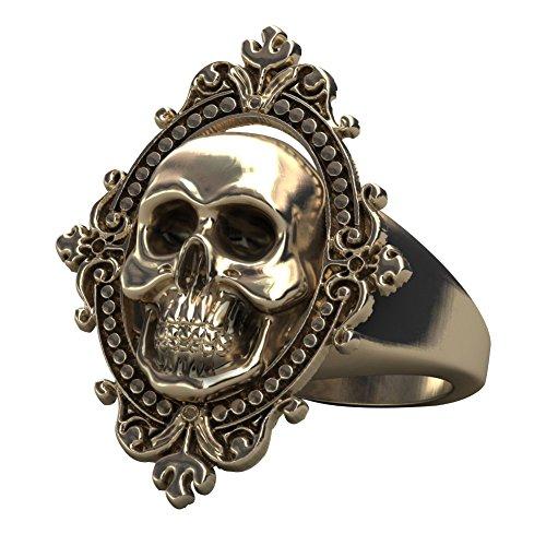 Gothic totenkopf Ring für Frauen groß Statement Messing Schmuck viktorianischen Fashion Band