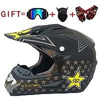 CHEYAL Adult Motocross Helm MX Motorradhelm ATV Scooter ATV Helm D. O. T Zertifiziert Rockstar Multicolor Mit Brillen Handschuhe Maske (S, M, L, XL)