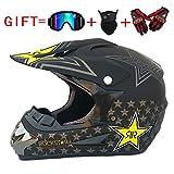 CHEYAL Adult Motocross Helm MX Motorradhelm ATV Scooter ATV Helm D. O. T Zertifiziert Rockstar Multicolor Mit Brillen Handschuhe Maske (S, M, L, XL),L