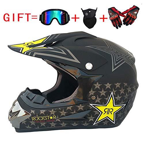 CHEYAL Adult Motocross Helm MX Motorradhelm ATV Scooter ATV Helm D. O. T Zertifiziert Rockstar Multicolor Mit Brillen Handschuhe Maske (S, M, L, XL),S