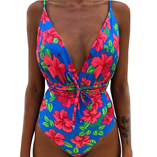 Costumi da Bagno Interi Snellenti Donna Costume Intero Schiena Scoperta Bikini Spiaggia Costumi Monokini da Mare Un Pezzo Nuoto Push Up Imbottito Trikini Costume Piscina Triangolo Taglie Forti