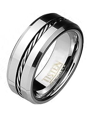 Paula & Fritz® Ring Tisten Titan Wolfram silber 8mm breit Ring mit eingelegtem gedrehtem Kabel silber verfügbare...