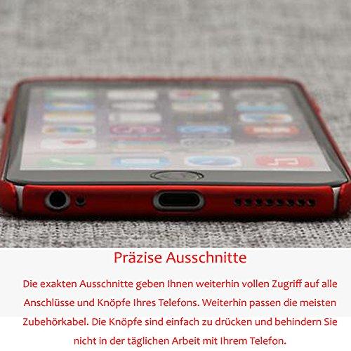 Rosso iPhone 8Plus Ultra Sottile 0.9mm Custodia Matte Case Cover + Rosso Copertura Completa Pellicola Protettiva + anello rosso del supporto del basamento, sunavy 3in 1Anti Urti Anti Graffi 360gr Rot-4