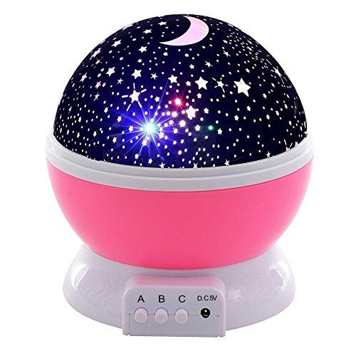 Songmics Mini Proyector Luz nocturna 8 Modos Colores cambiantes rotato