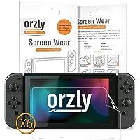 Protections écran pour Nintendo Switch - PACK de 5 Films de Protection par Orzly – 100% Transparent pour protéger l'écran de votre console Nintendo Switch (Modèle 2017)