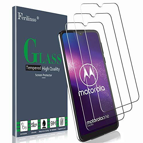 Ferilinso Verre Trempé pour Moto G8 Play/Motorola One Macro Protection écran, [3 Pièces] Protection écran Glass Screen Protector Vitre Tempered avec Garantie de Remplacement à Durée de Vie