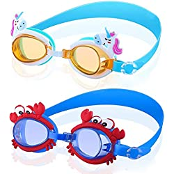 Lot de 2 paires de lunettes de protection anti-buée et anti-UV pour enfant Motif dessin animé mignon imperméable réglable