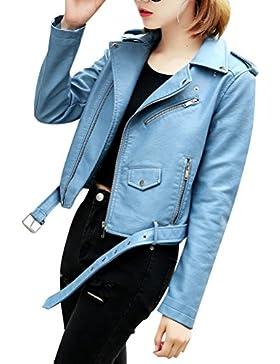 Mujer Manga Larga Chaqueta PU Cuero Slim Fitted Cremallera Jacket
