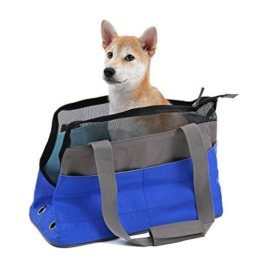PAWZ Road Transportbox Handtasche Hundebox Reisebox Hundetasche Transporttasche Hunde Auto Autoschutzdecke Wasserdicht Faltbar Reisetasche 41 x 20 x 27 Blau