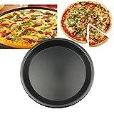 Tablett Backblech Pizza Backblech Nicht klebrig Runde Pizza Pizzateller 5/6/7/8/9/10 Zoll Pizzableche (Color : Black, Size : 13 * 14 * 12cm/5 * 5.5 * 4.5inch)