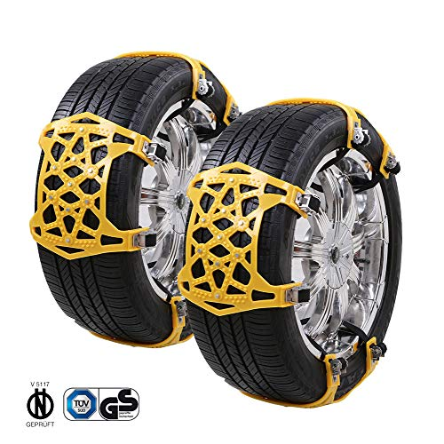 Crosofmi catena da neve universale installazione di pneumatici da neve larghezza conveniente degli pneumatici 165-285 mm (6 pezzi giallo)